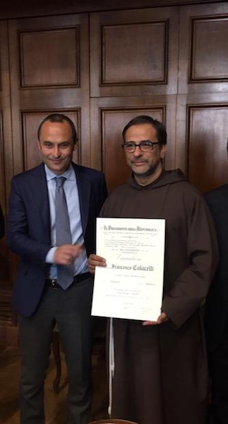 fr. Francesco Colacelli OFM, Cavaliere al Merito della Repubblica Italiana.